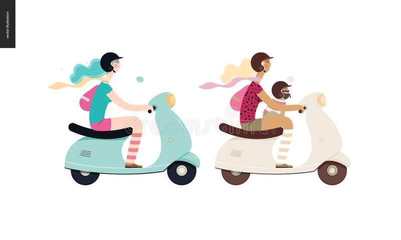 Flicka på en sparkcykel stock illustrationer