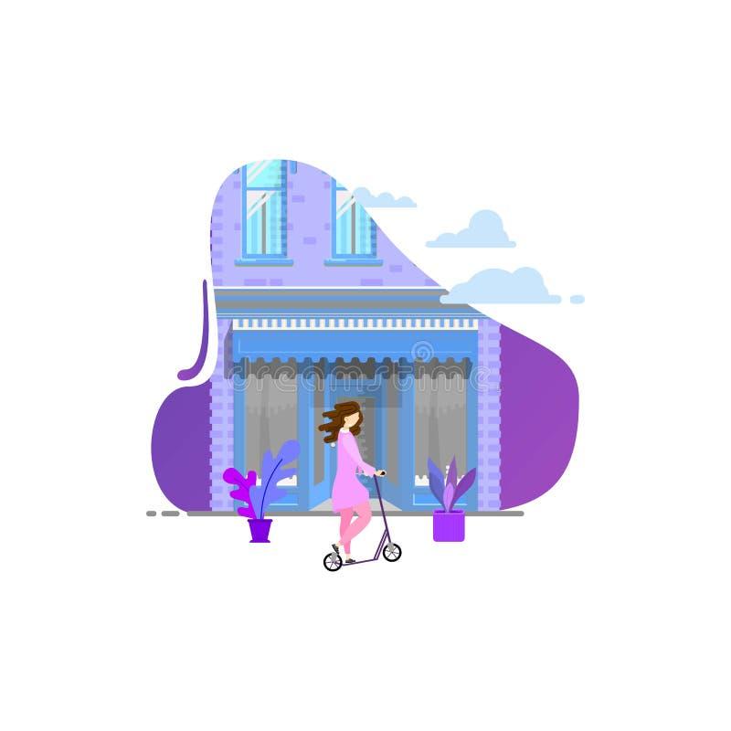 Flicka på en sparkcykel mot bakgrunden av byggnaden Modern plan design vektor illustrationer