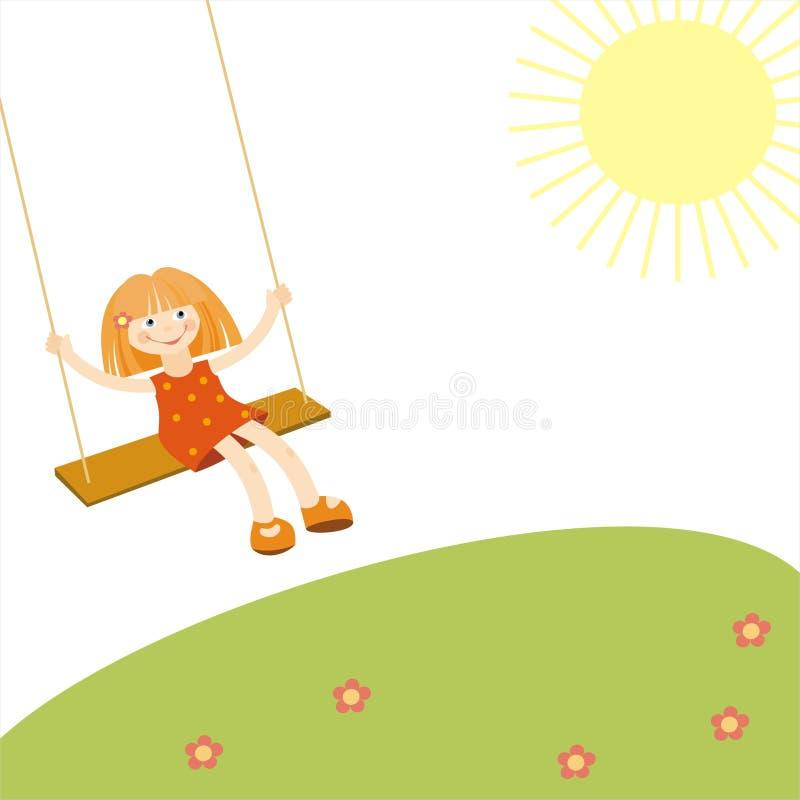 Flicka på en swing stock illustrationer