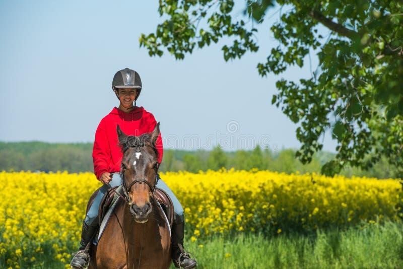 Flicka på hästryggridning royaltyfria foton