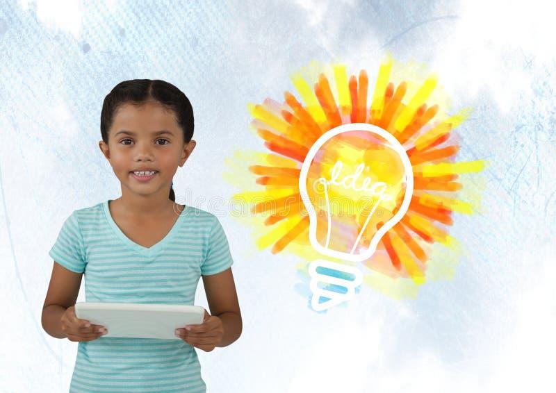 Flicka på minnestavlan med färgrik idé för ljus kula arkivbild