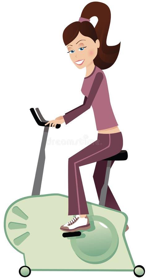 Flicka på motionscykelen vektor illustrationer