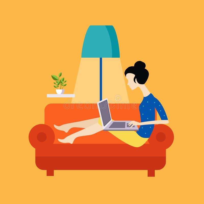 Flicka på Sofa Working Freelance stock illustrationer