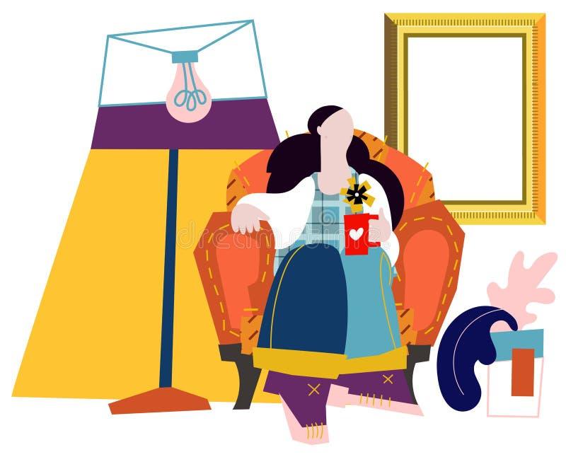Flicka på sofaen Plan tecknad filmillustration för vektor stock illustrationer
