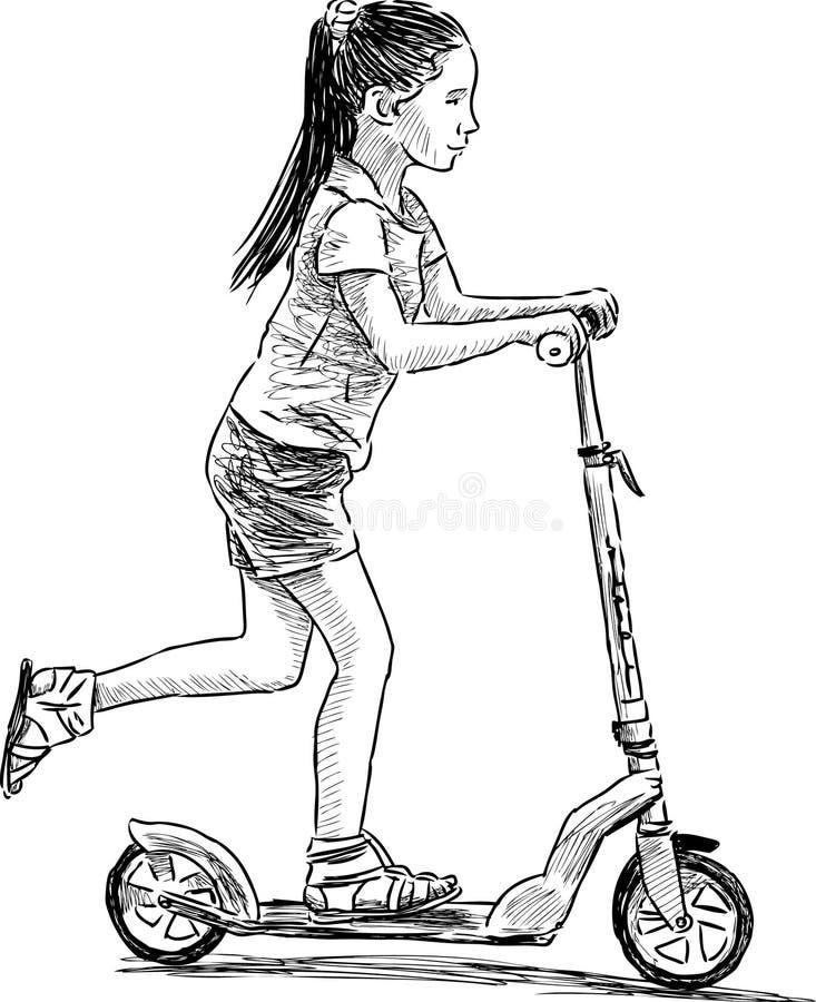 Flicka på sparkcykeln vektor illustrationer