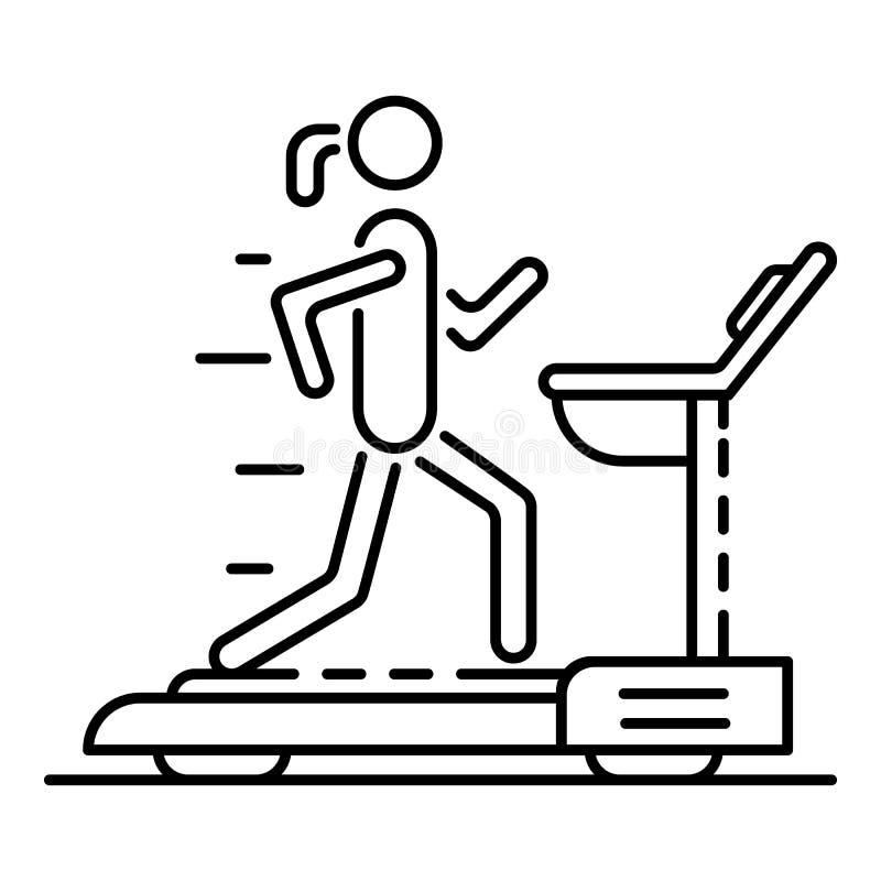 Flicka på trampkvarnsymbolen, översiktsstil stock illustrationer