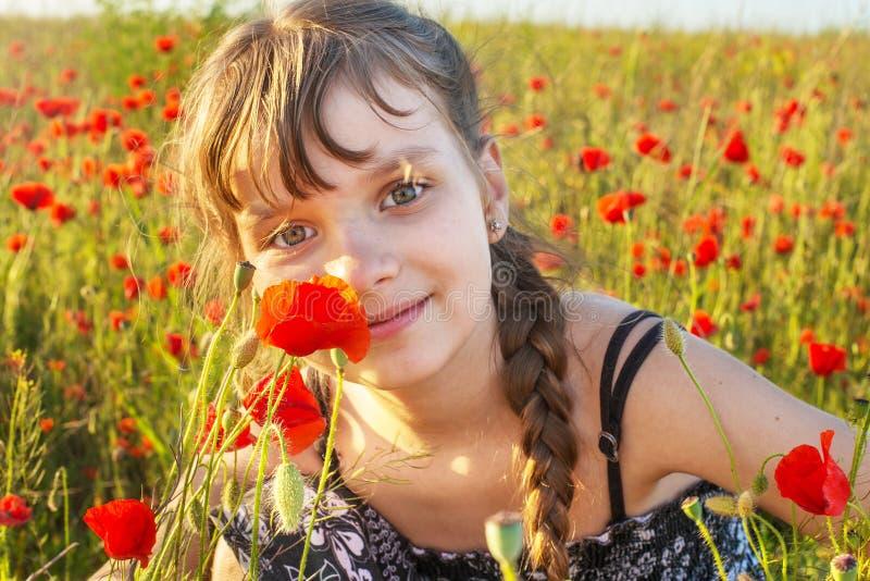 Flicka på vallmofältet royaltyfria bilder