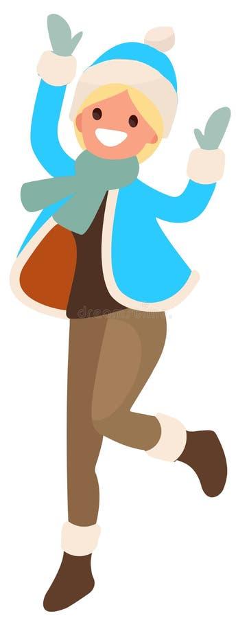 Flicka på vit bakgrund i blått hoppa för kläder royaltyfri illustrationer