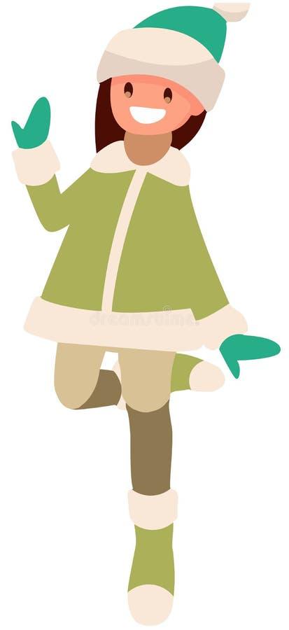 Flicka på vit bakgrund i grönt hoppa för kläder stock illustrationer
