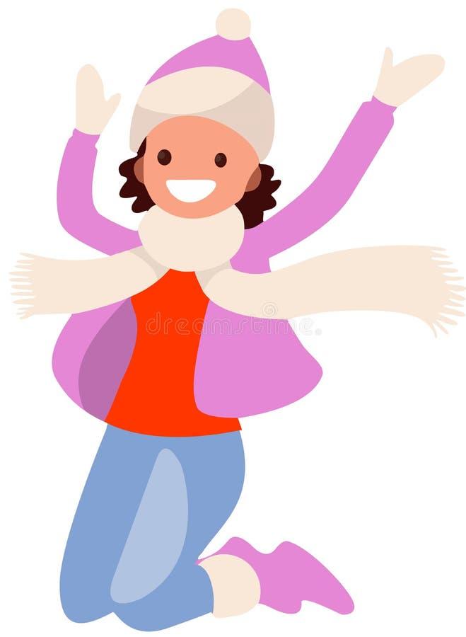 Flicka på vit bakgrund i purpurfärgat hoppa för kläder royaltyfri illustrationer