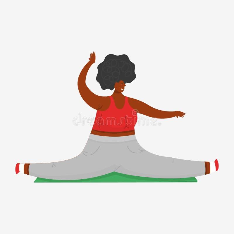 Flicka plus format tvinna i idrottshallen Yoga som ?r matt f?r kondition r Fet kvinna som gör övningar, viktförlust stock illustrationer