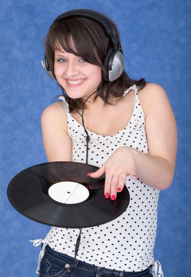 flicka registrerad vinyl royaltyfri foto
