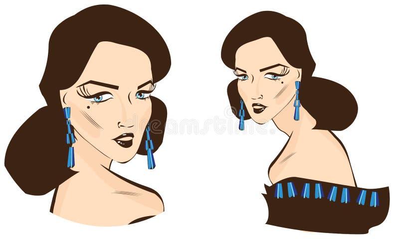 flicka Retro utformad illustration för vektor vektor illustrationer