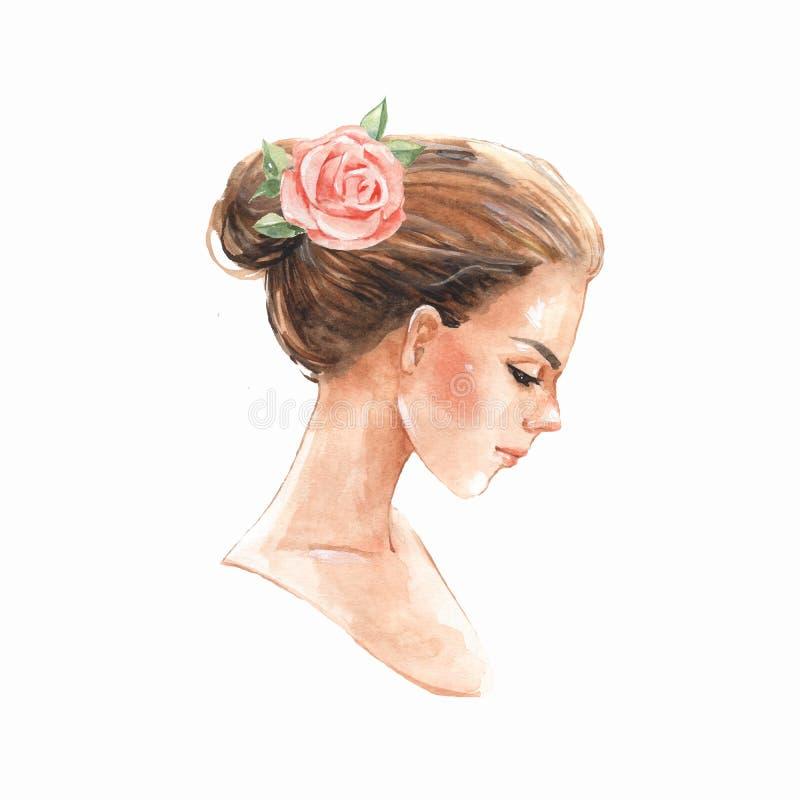 flicka Romantisk vattenfärgillustration med blomman royaltyfri illustrationer