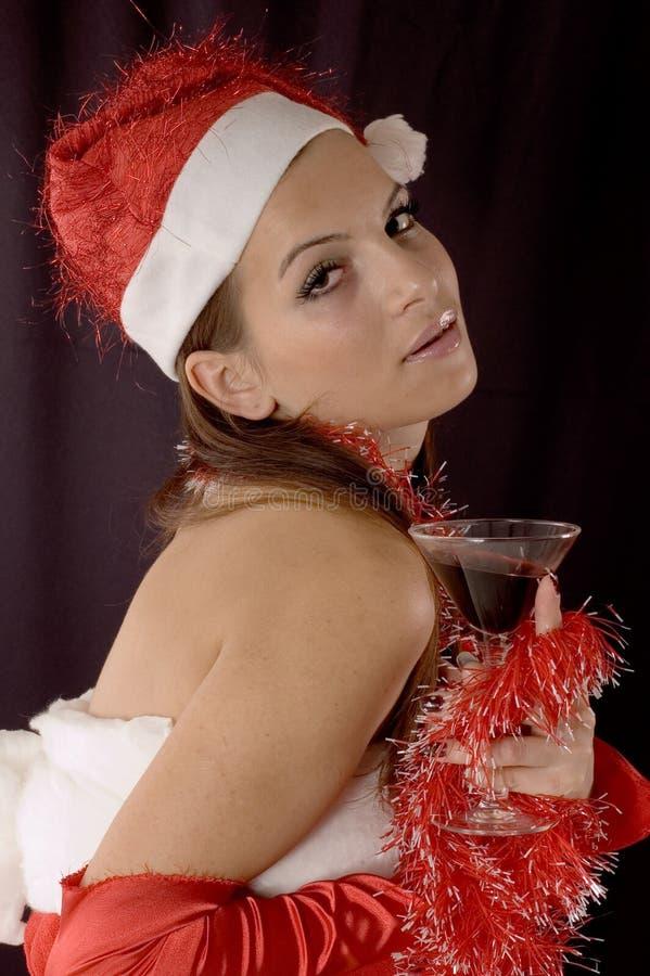 flicka santa fotografering för bildbyråer