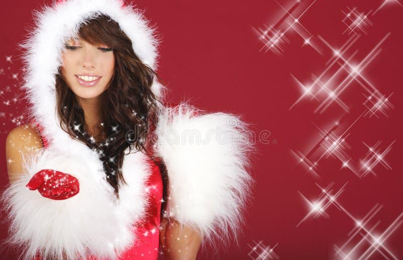 Flicka Sexiga Santa Arkivfoton