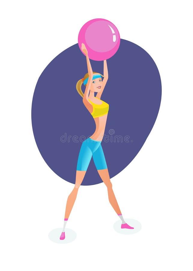 Flicka som är förlovad i övningsterapi som gör övningar med den rubber bollen vektor illustrationer
