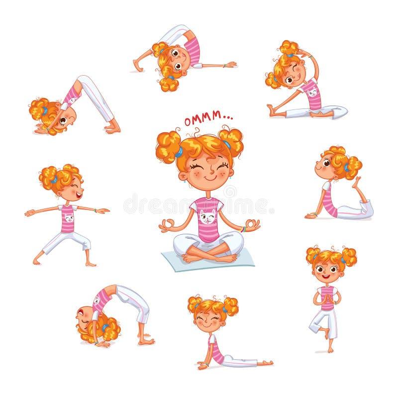 Flicka som är förlovad i fysiska övningar Yogaunge vektor illustrationer