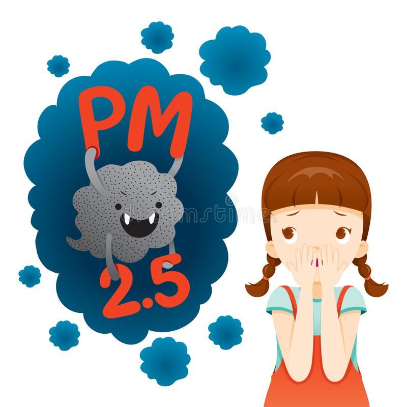 Flicka som är rädd av damm PM2 5 tecken, tecknad film, rök, smog vektor illustrationer