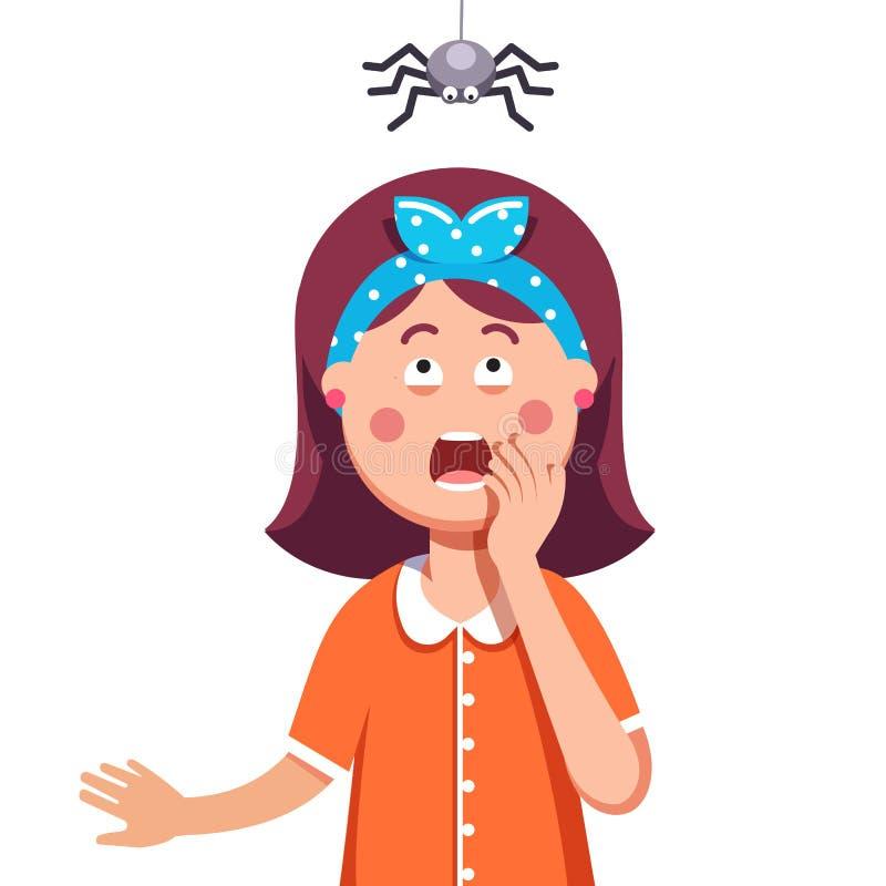 Flicka som är rädd av en spindel som uppifrån hänger royaltyfri illustrationer