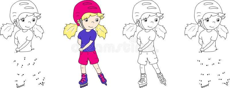 Flicka som åker rullskridskor i en hjälm också vektor för coreldrawillustration Färga a royaltyfri illustrationer