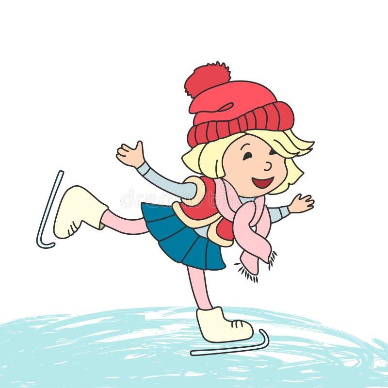 Flicka som åker skridskor på is vektor illustrationer