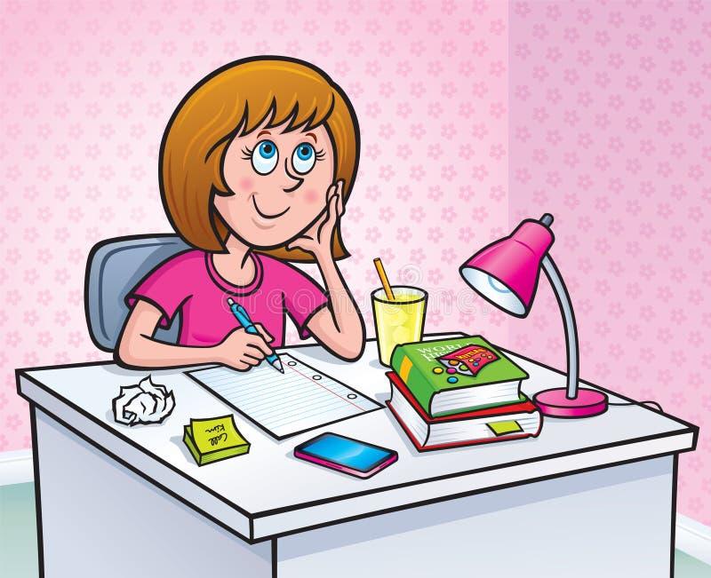 Flicka som arbetar på en läxauppgift stock illustrationer