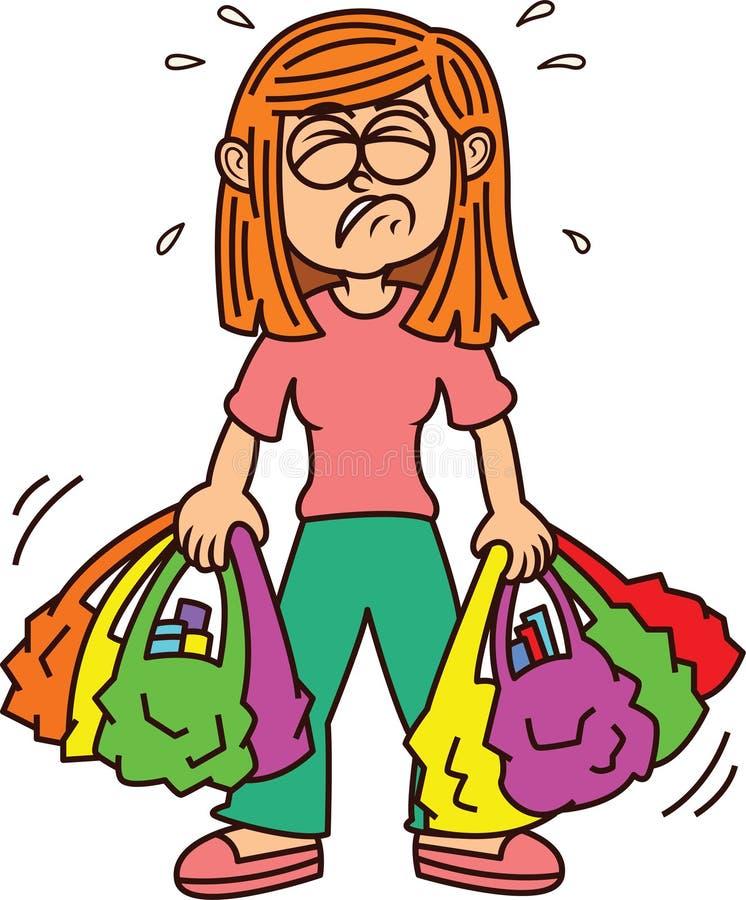 Flicka som bär den tunga tecknade filmen för shoppingpåsar royaltyfria foton