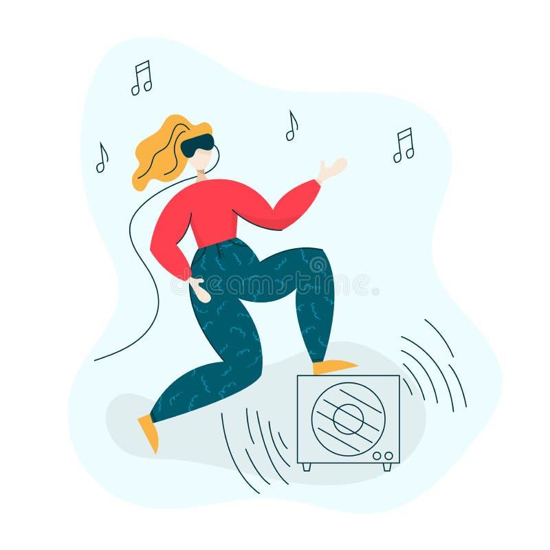 Flicka som bär VR-hörlurar med mikrofon och spelar gitarren - faktiskt exponeringsglasbegrepp för verklighet 3D Isolerad modern s vektor illustrationer