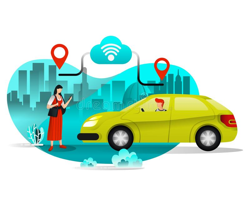 Flicka som beställer taxien eller bilar för att resa i staden Aktieritt genom att använda mobilt stadstrans. Plan tecknad filmsti vektor illustrationer
