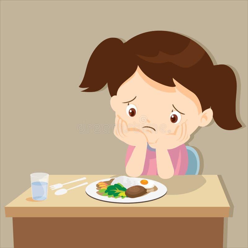 Flicka som borras med mat royaltyfri illustrationer