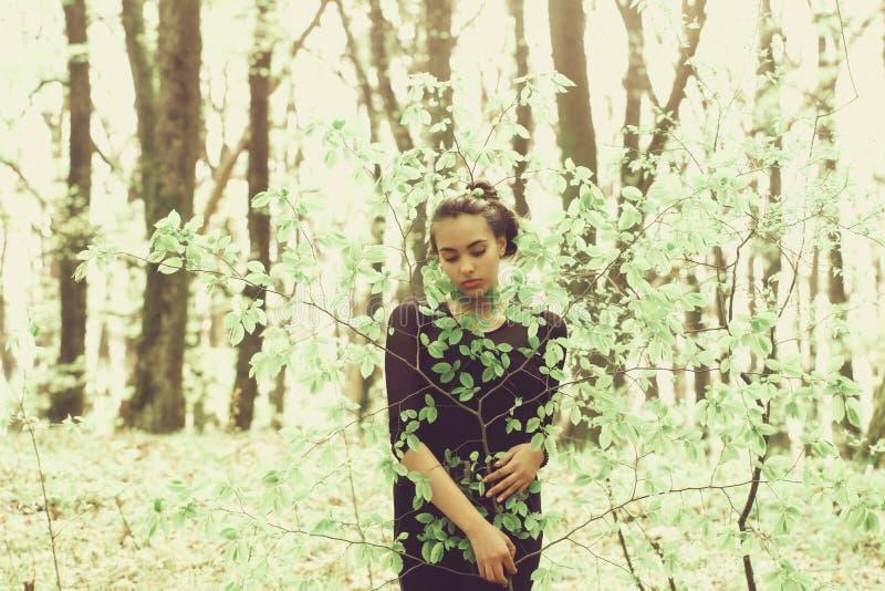 Flicka som döljer i gröna trädsidor i vårskog royaltyfria foton