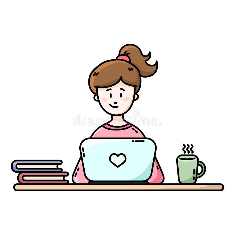Flicka som framme sitter av b?rbara datorn Kvinnlig Blogger Plan vektorillustration vektor illustrationer