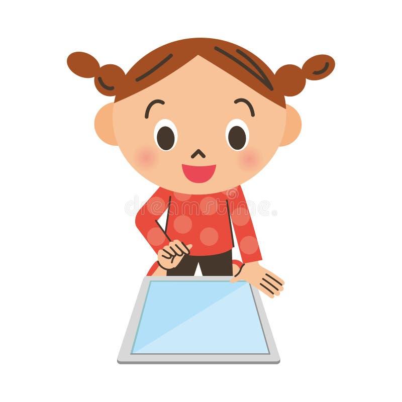 Flicka som fungerar en minnestavla stock illustrationer