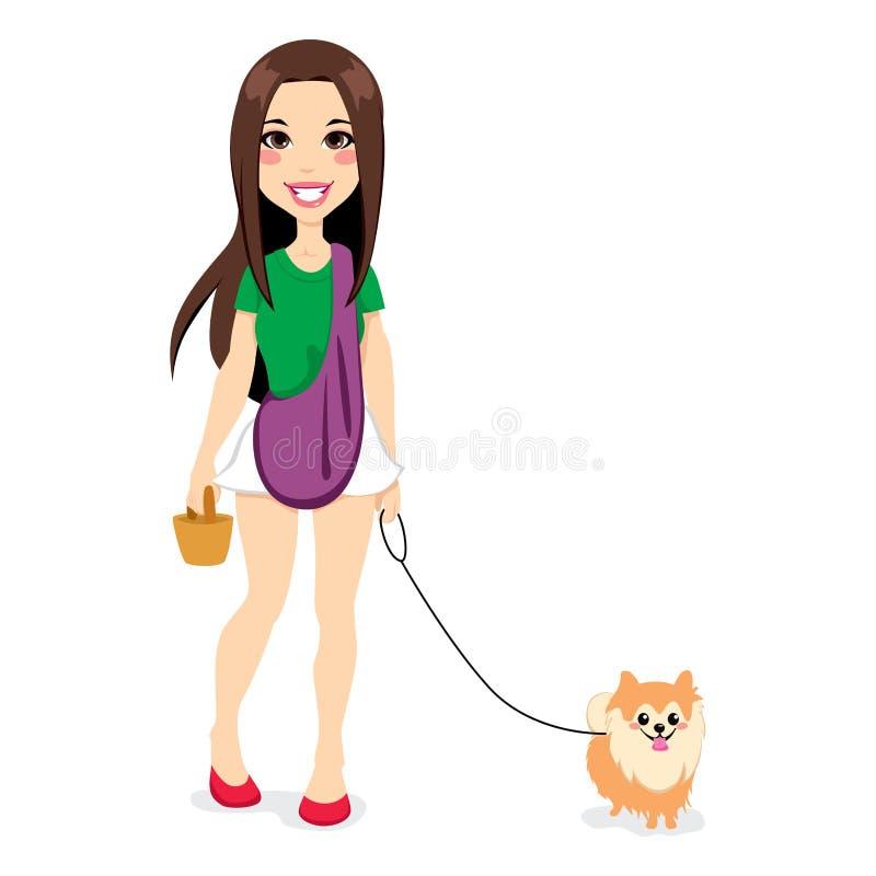Flicka som går Little Pomeranian stock illustrationer
