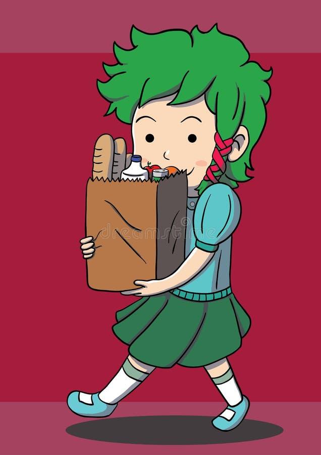 Flicka som går med den pappers- påsen stock illustrationer
