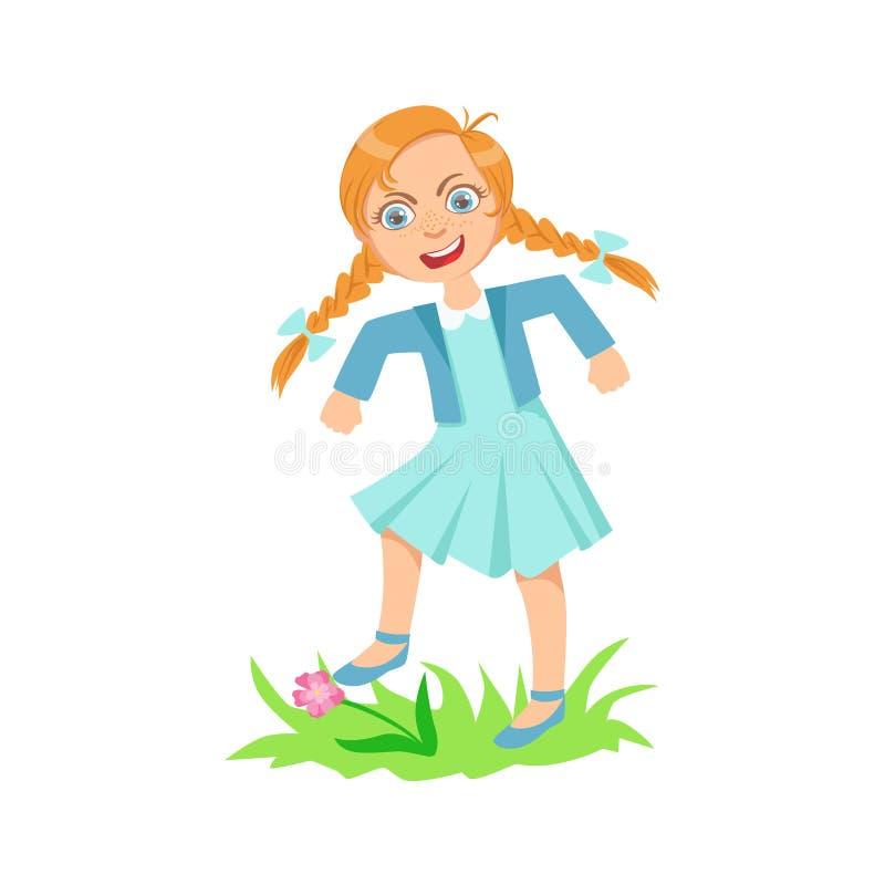 Flicka som går på gräsmattagräs som bryter den tonårs- översittaren för blommor som visar busigt obetvingligt brottsligt uppföran royaltyfri illustrationer