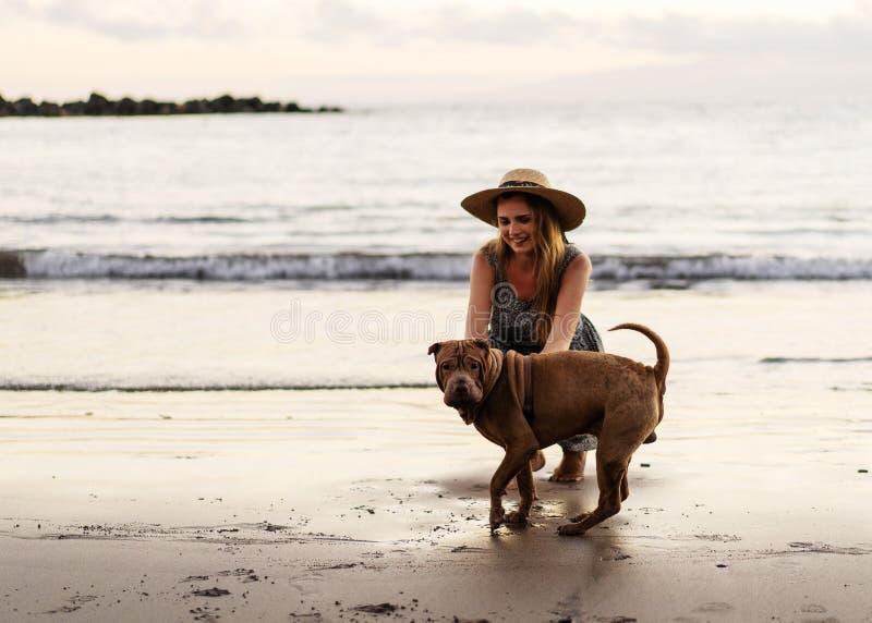 Flicka som går på stranden på solnedgången med en hund royaltyfri foto