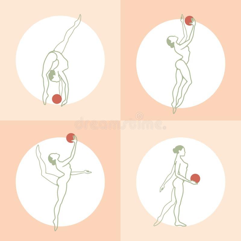 Flicka som gör övningar med en boll royaltyfri illustrationer