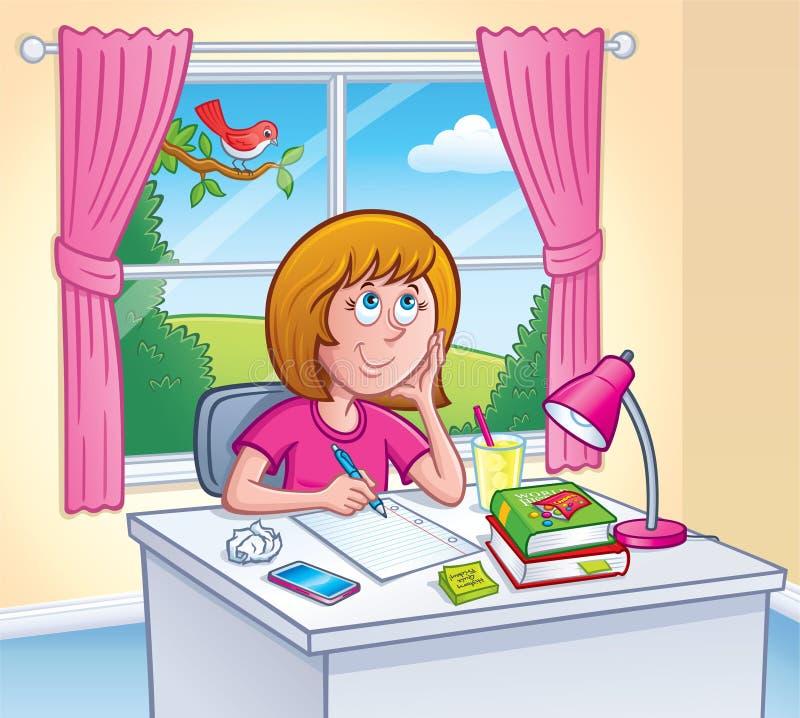 Flicka som gör läxa i hennes rum royaltyfri illustrationer