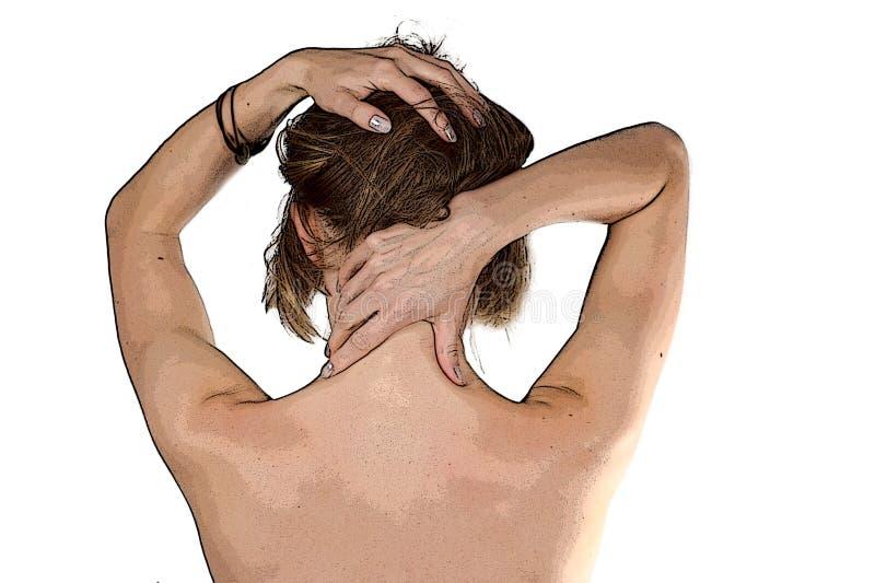 flicka som gör massagesjälv royaltyfria bilder