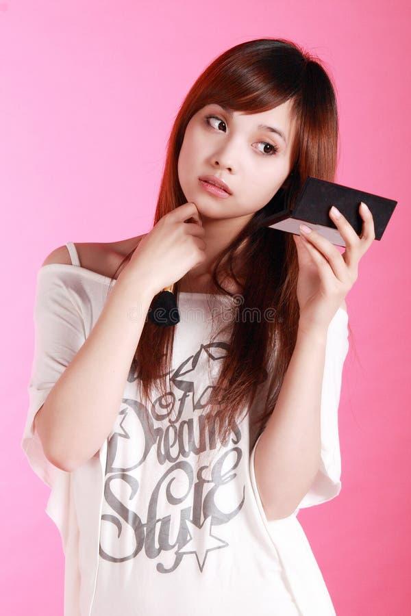 flicka som gör upp royaltyfri fotografi