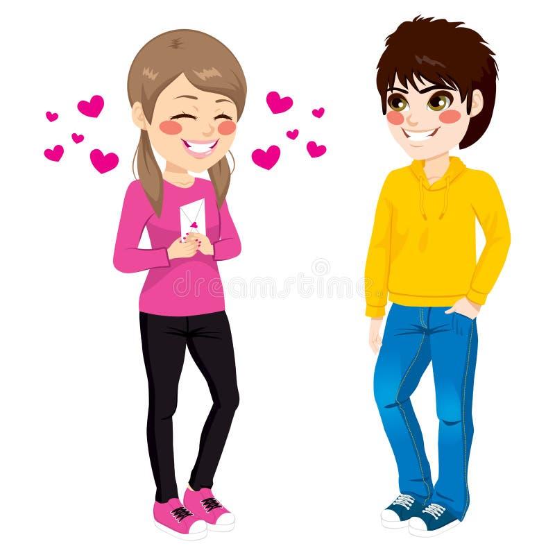 Flicka som ger förälskelsebokstaven stock illustrationer