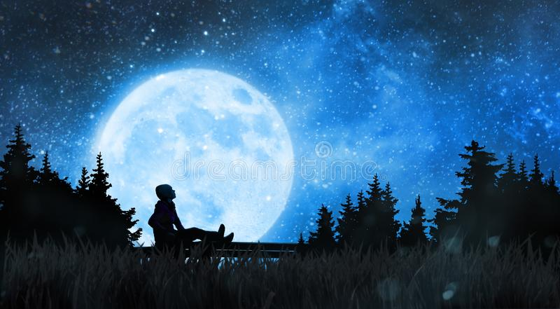 Flicka som håller ögonen på stjärnorna i natthimmel royaltyfri illustrationer