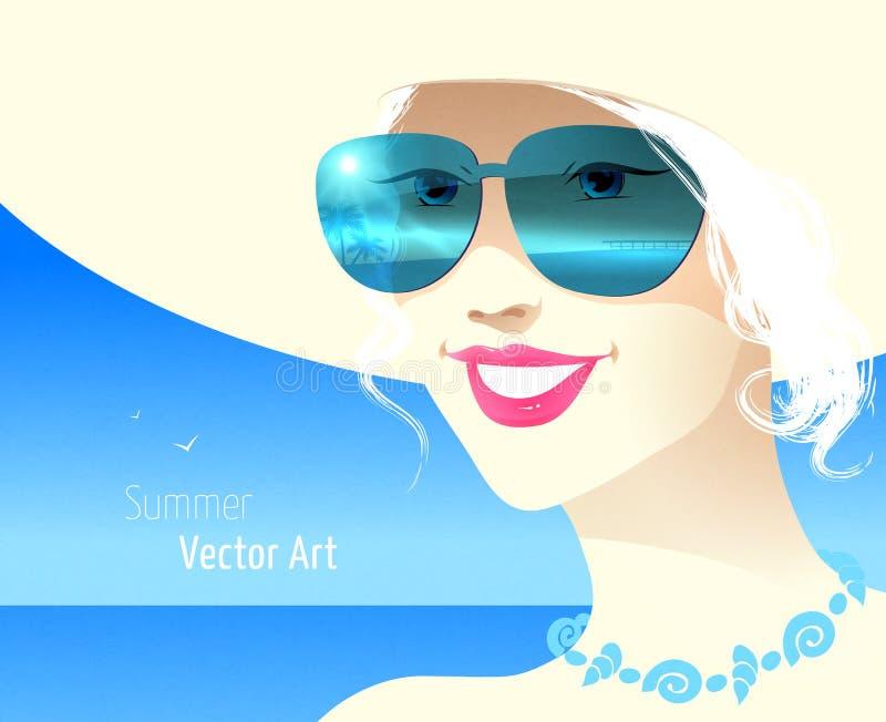 Flicka som ha på sig solglasögon royaltyfri illustrationer