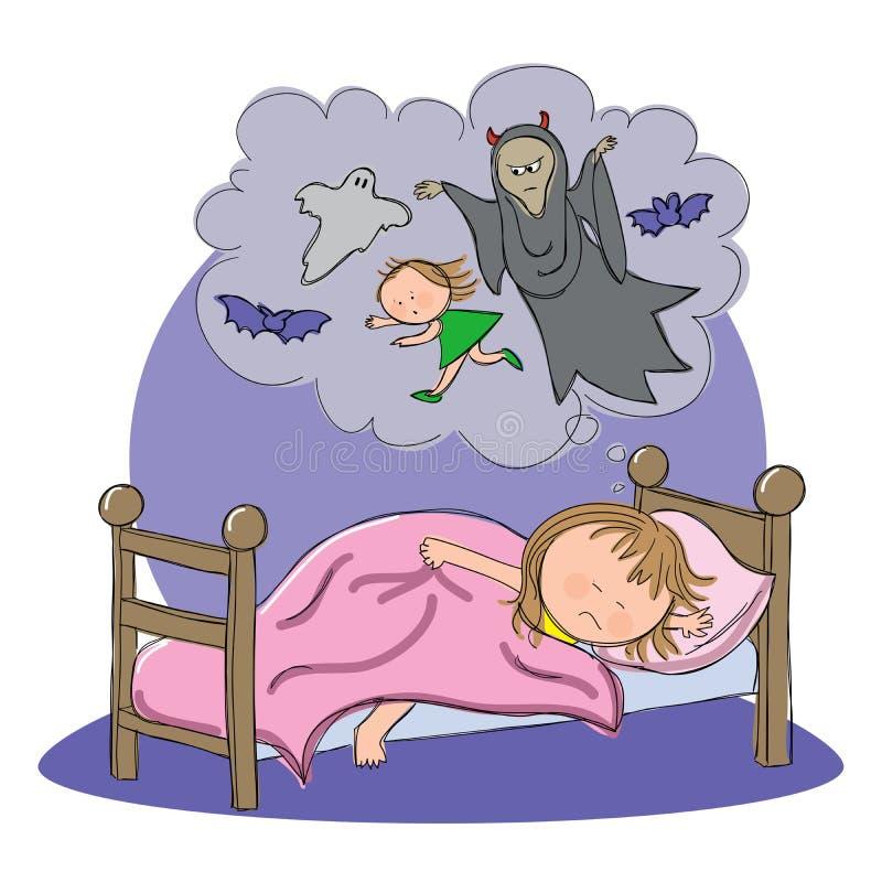 Flicka som har att sova för mardrömstund vektor illustrationer