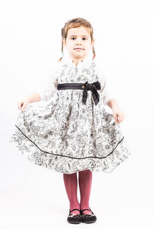 flicka som isoleras little som är vit royaltyfri fotografi