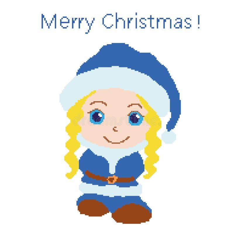 Flicka som kläs som Santa Claus, nytt års blåa dräkt som målas med fyrkanter, PIXEL glad greeting för kortjul Vektorillustrat stock illustrationer