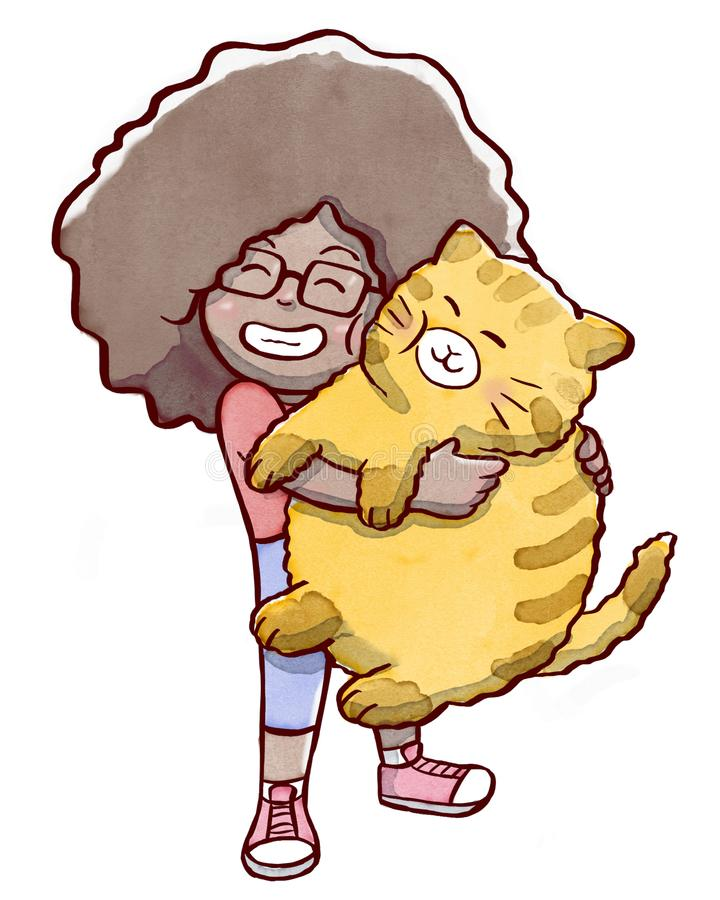 Flicka som kramar en fet katt som isoleras i vit bakgrund royaltyfri illustrationer