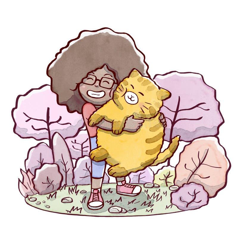 Flicka som kramar en fet katt med en parkera i bakgrund stock illustrationer